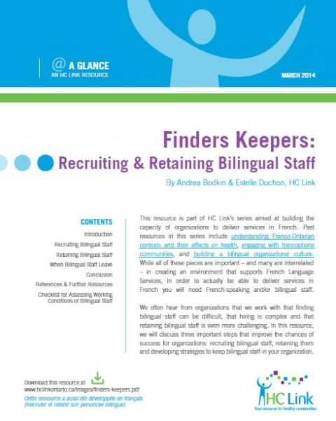 Finders Keepers: Recruiting and Retaining Bilingual Staff