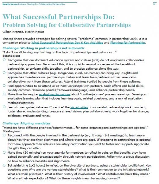 Tipsheet: Problem Solving for Collaborative Partnerships