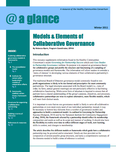 Models & Elements of Collaborative Governance