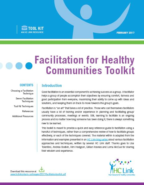 Facilitation for Healthy Communities Toolkit