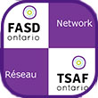 "Small icon: FASD ONtario logo on white background checkered with the word ""Network"" on purple background."