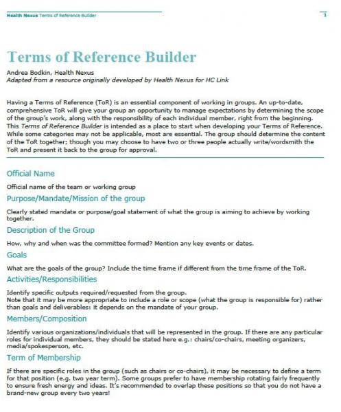 Terms of Reference builder